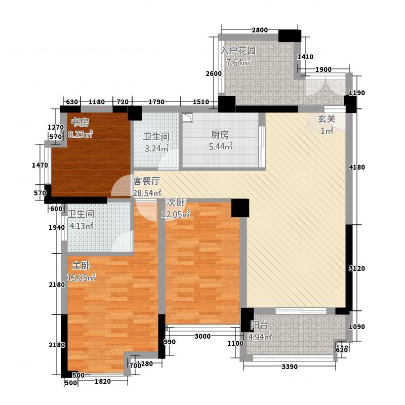 碧水园332112.81㎡B3户型3室2厅2卫1厨