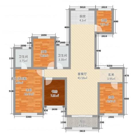 尚城国际5室1厅2卫0厨142.00㎡户型图