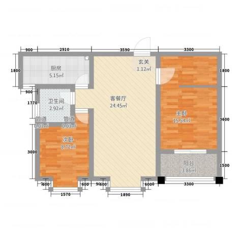 豪门又一城2室1厅1卫1厨588.00㎡户型图