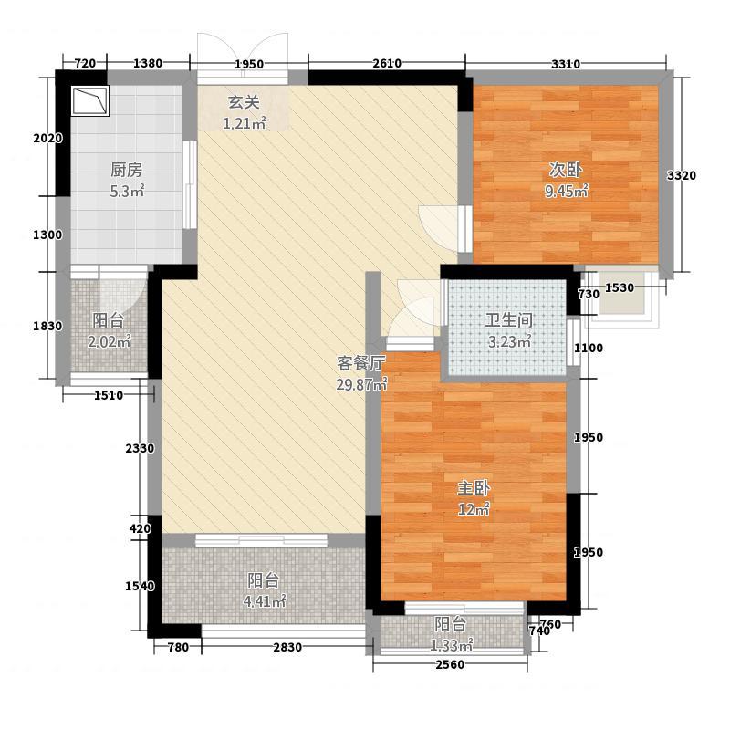 欣光・名车广场2.16㎡一期1号楼标准层C户型2室2厅1卫1厨