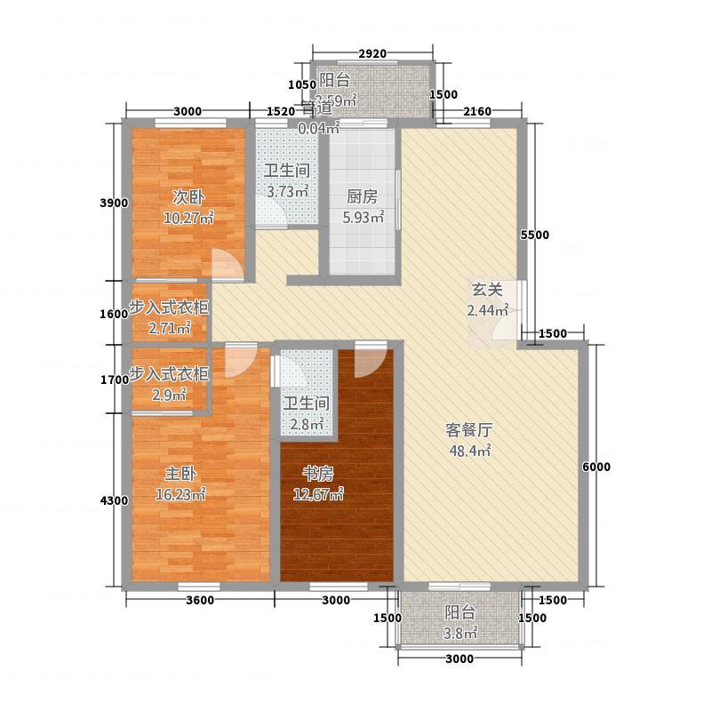 盛世景苑25211142.00㎡205-210#E1户型3室2厅2卫1厨