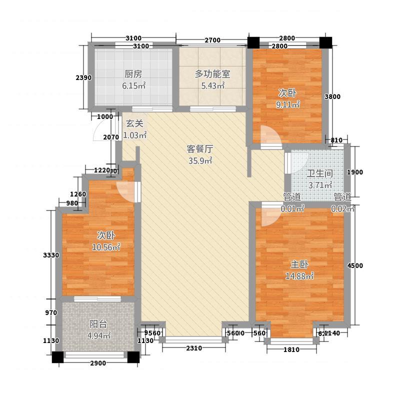 豪门又一城5128.20㎡一期59#-62#、65#楼标准层D户型3室2厅1卫1厨