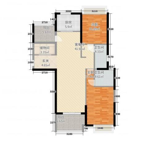 保利建业・香槟国际2室1厅2卫1厨117.00㎡户型图