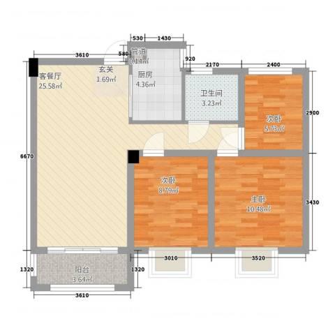 翰林华府3室1厅1卫1厨61.95㎡户型图