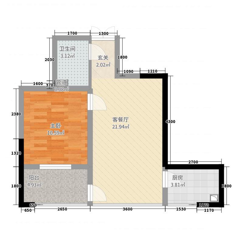 中央华冠6.20㎡C户型1室2厅1卫1厨