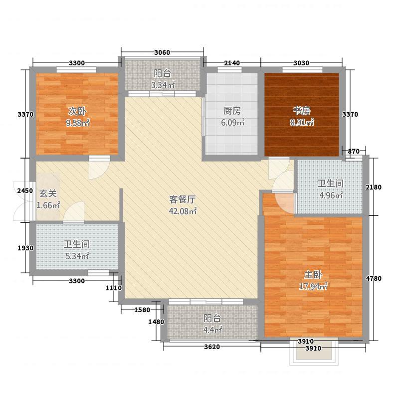 坤泰中央名门4137.20㎡B4户型3室2厅2卫1厨
