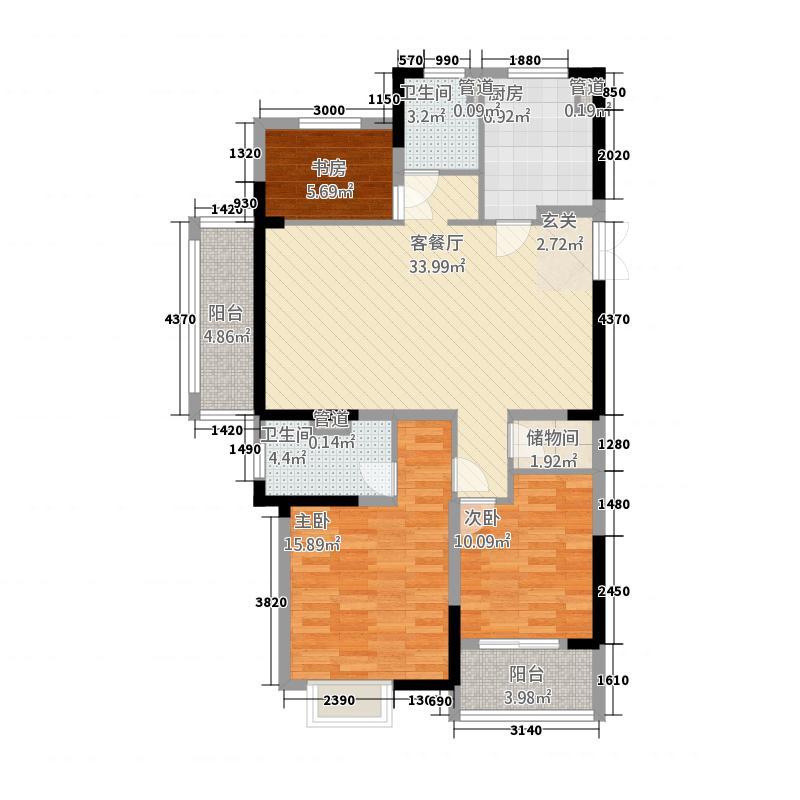 金山国际广场113.20㎡C户型3室2厅2卫1厨