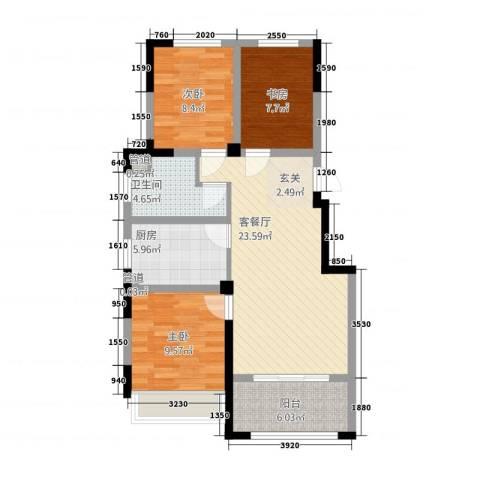 翰林华府3室1厅1卫1厨66.18㎡户型图
