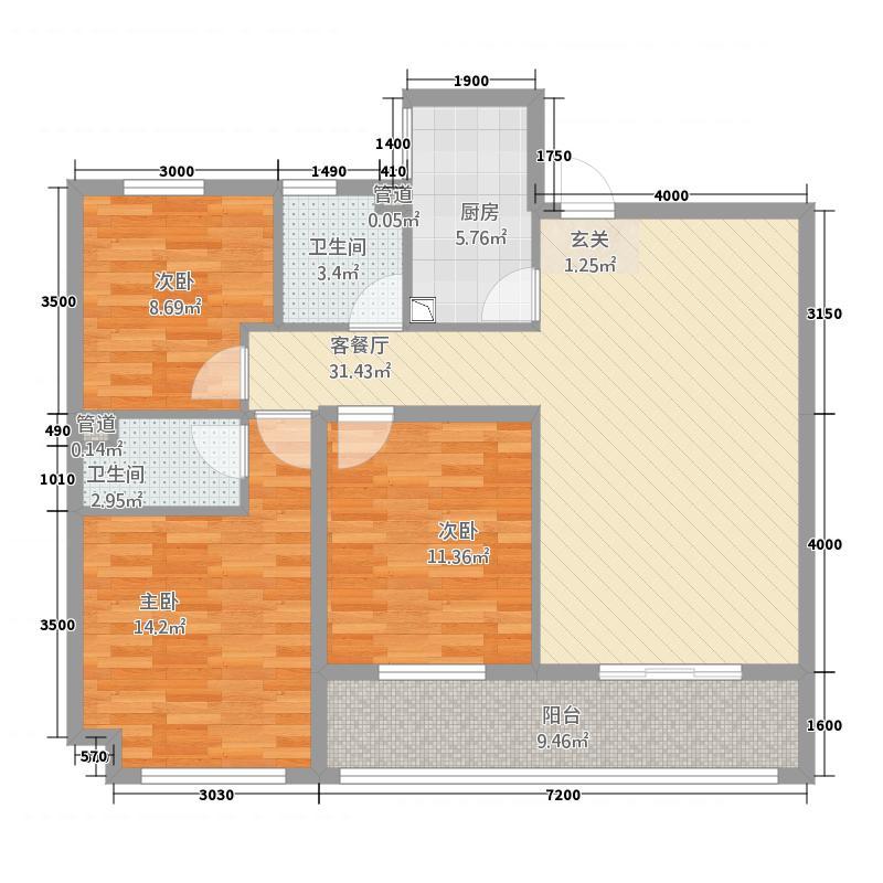 岳口-新天地311.23㎡D户型3室2厅2卫1厨