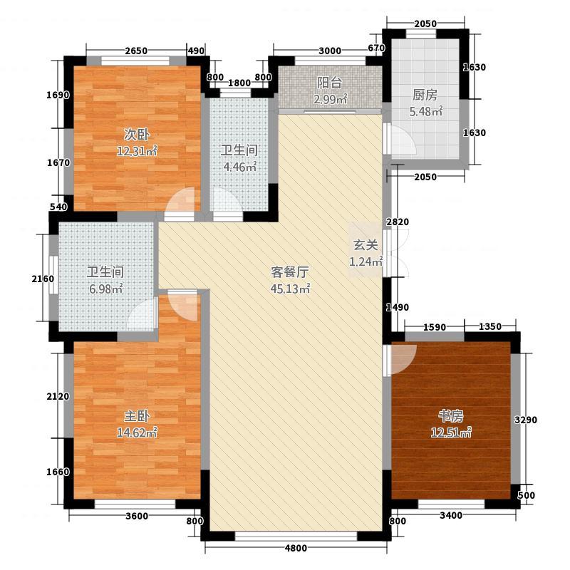 源山别院147.20㎡高层标准层C户型3室2厅2卫1厨