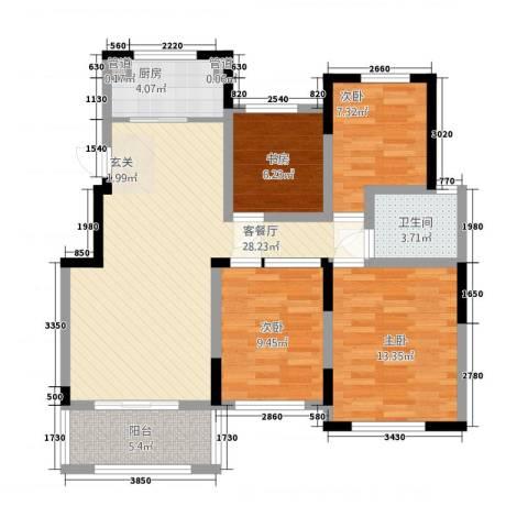 翰林华府4室1厅1卫1厨77.99㎡户型图