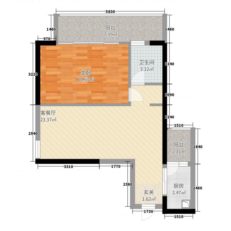 君悦黄金海岸476.20㎡一期C4户型1室2厅1卫1厨