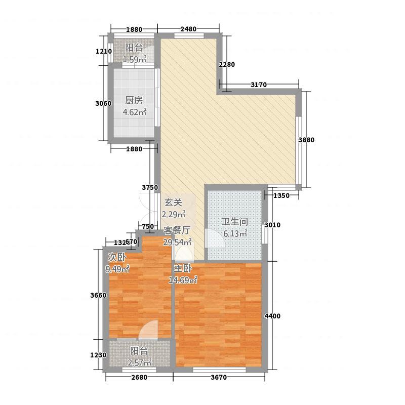 名典大公馆28.20㎡户型2室2厅1卫1厨
