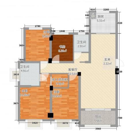 翰林华府4室1厅2卫1厨92.15㎡户型图