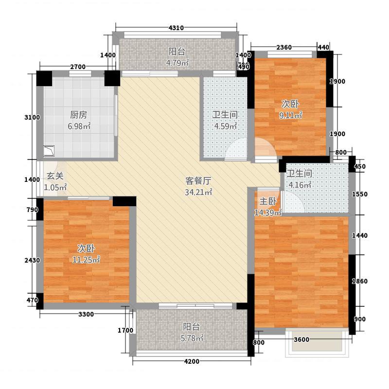 碧水园232127.75㎡B2户型3室2厅2卫1厨