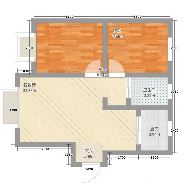 香悦湾75.20㎡户型2室2厅1卫1厨