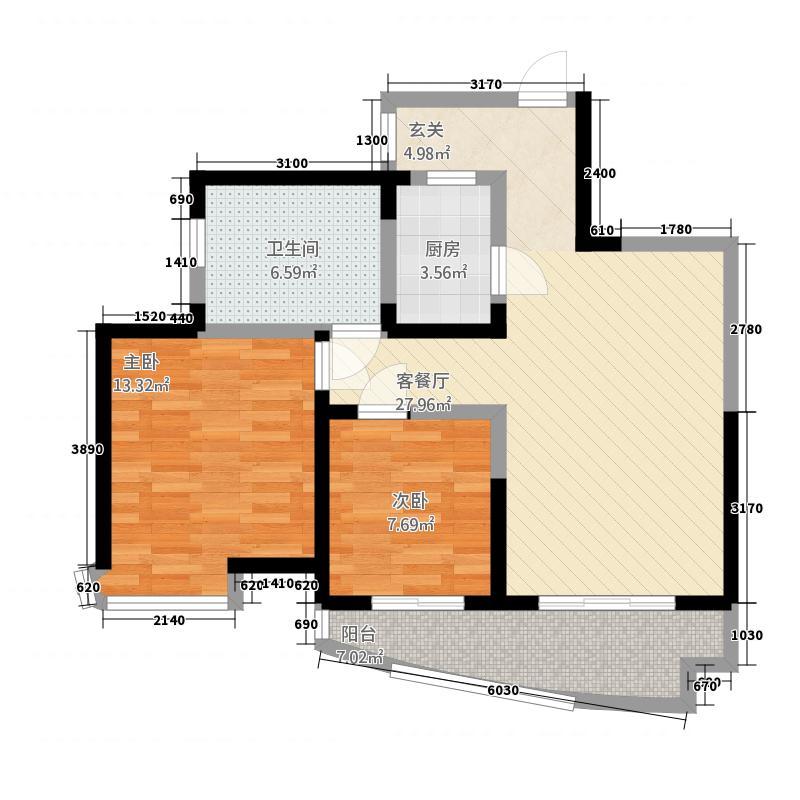 罗曼帝克32288.20㎡A3/C2/D2/E2户型2室2厅1卫1厨