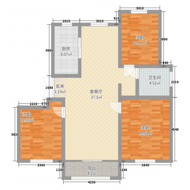 中豪・城市之星121.42㎡E户型3室2厅2卫1厨
