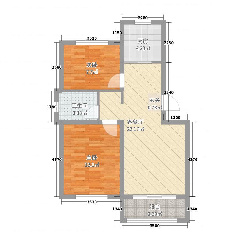 水尚明珠11675.20㎡1-16#A户型2室2厅1卫1厨