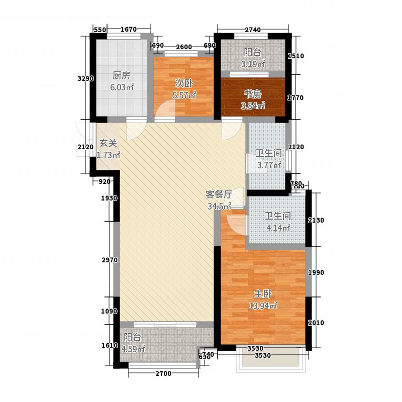 龙湖锦艺城114.20㎡二期高层C1户型3室2厅2卫1厨