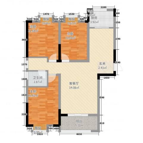 众发世纪城3室1厅1卫1厨1634118.00㎡户型图