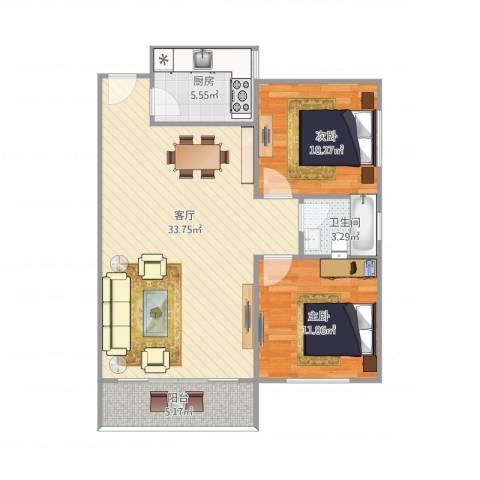 岳北花园2室1厅1卫1厨93.00㎡户型图