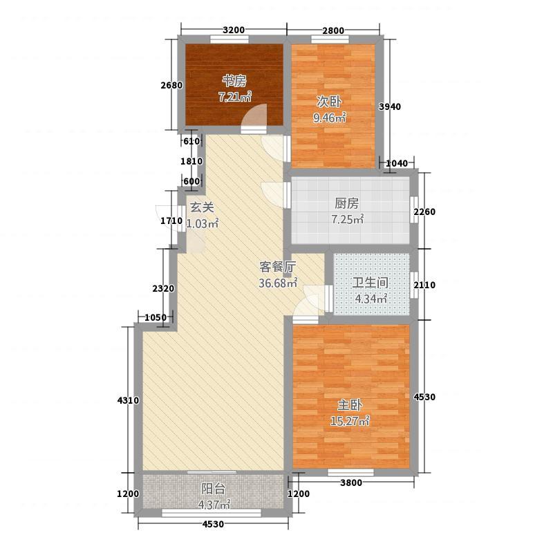 中豪・城市之星114.62㎡C户型3室2厅1卫1厨