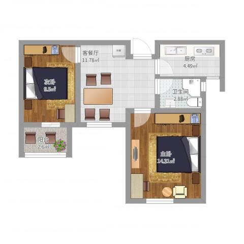 苏安新村60一2室1厅1卫1厨67.00㎡户型图