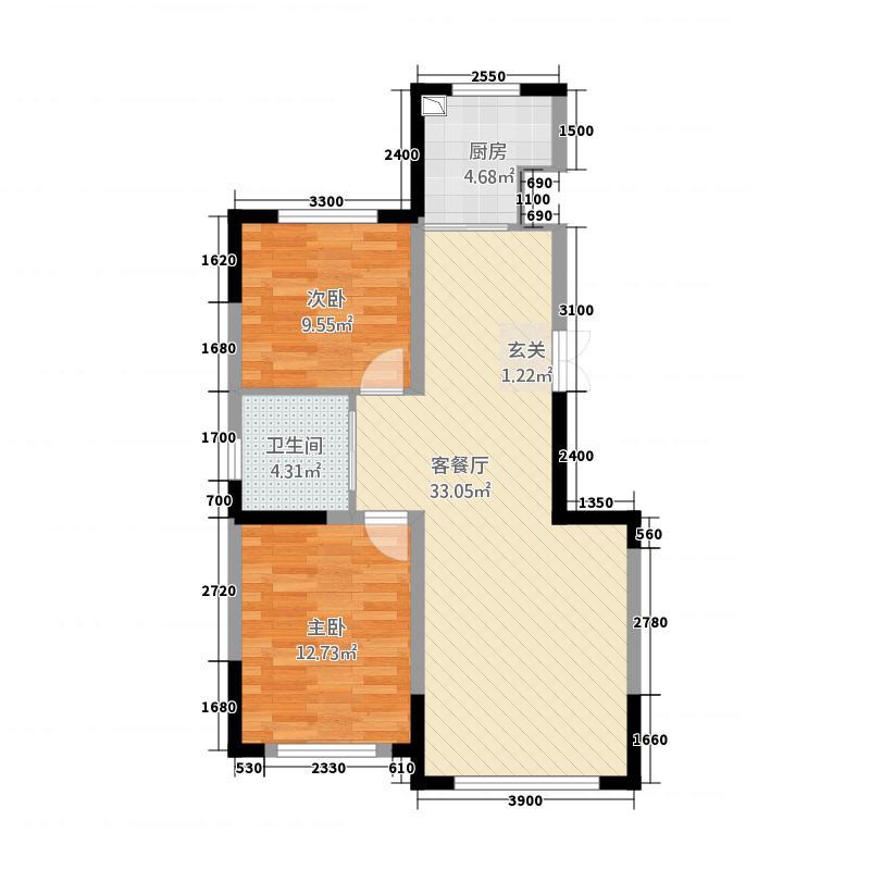源山别院5.20㎡高层标准层A户型2室2厅1卫1厨