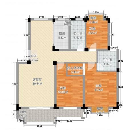 东方华庭3室1厅2卫1厨119.79㎡户型图
