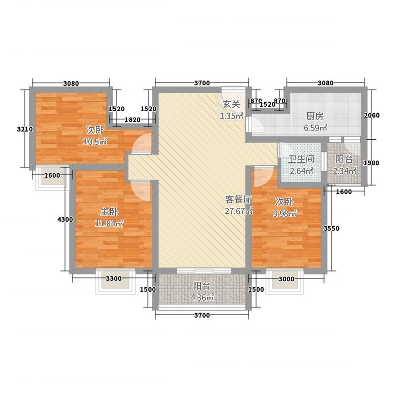名鉴圣城13118.12㎡B1户型3室2厅1卫1厨