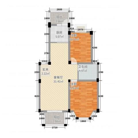 盛世莲花2室1厅1卫1厨123.00㎡户型图