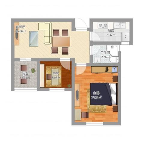 苏安新村60二2室1厅1卫1厨67.00㎡户型图