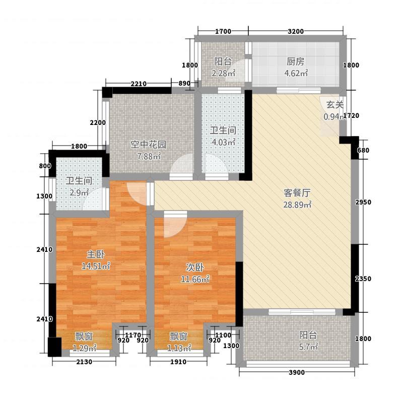 金九・南滨花园14.46㎡11号楼2号房户型2室2厅2卫1厨
