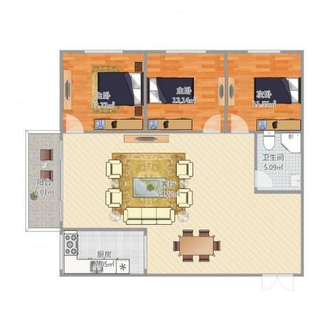 侨建大厦3室1厅1卫1厨144.00㎡户型图