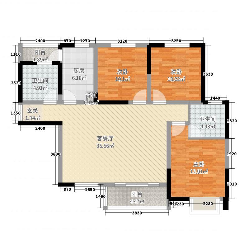 万达・公园里13.12㎡(6)户型3室2厅2卫1厨