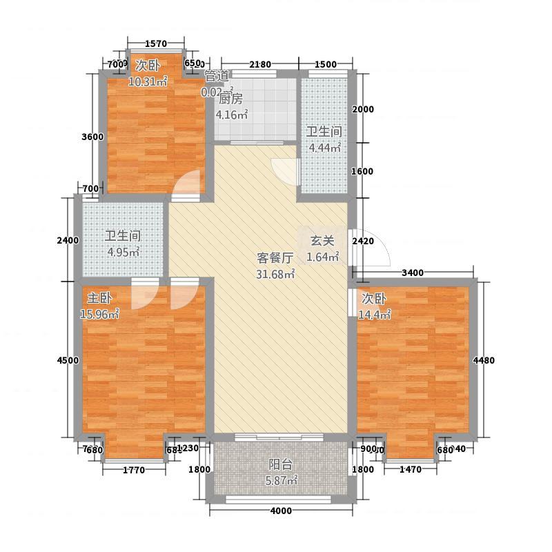 一品和�12123.20㎡二期12#楼J户型3室2厅1卫1厨