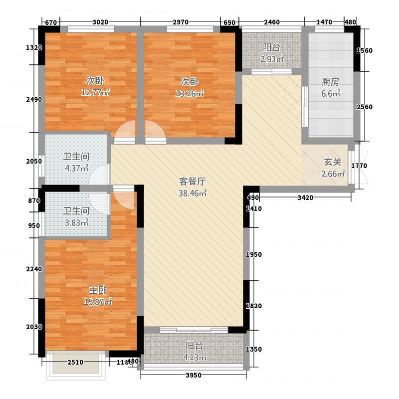 万达・公园里146.33㎡(5)户型3室2厅2卫1厨