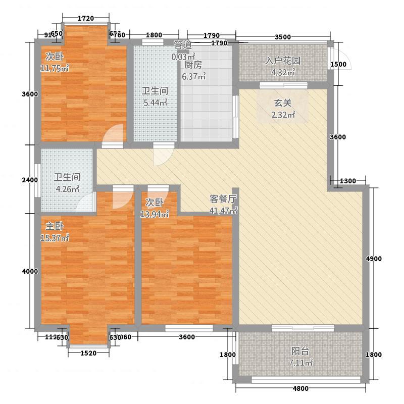 一品和�2112.20㎡二期21#楼L户型3室2厅2卫1厨