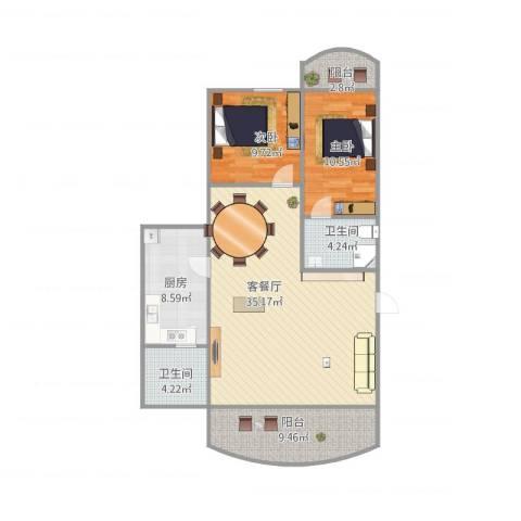 聚龙花园2室1厅2卫1厨114.00㎡户型图