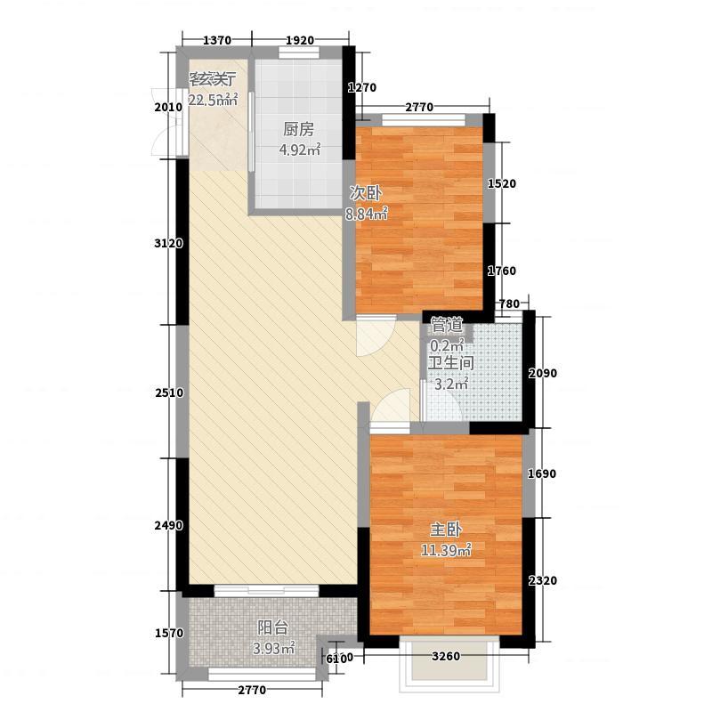 金山国际广场888.20㎡E户型2室2厅1卫1厨