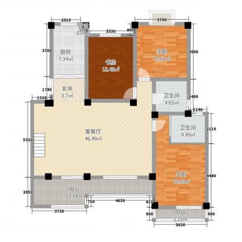 长江国际花园3室1厅2卫1厨4133.00㎡户型图