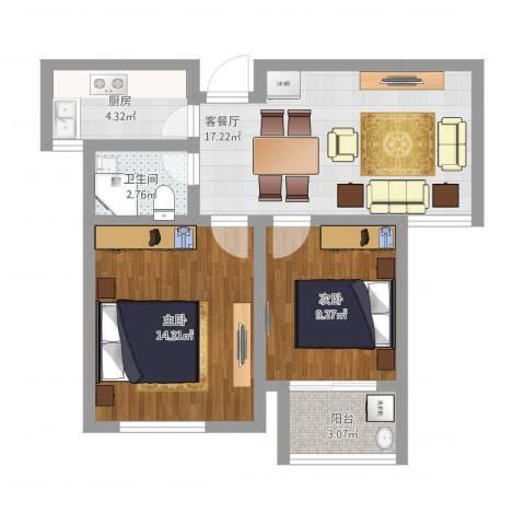 苏安新村70二2室1厅1卫1厨74.00㎡户型图