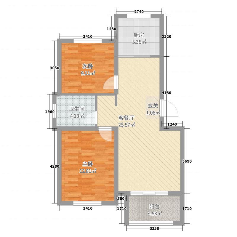 水尚明珠11188.20㎡1-10#B1户型2室2厅1卫1厨
