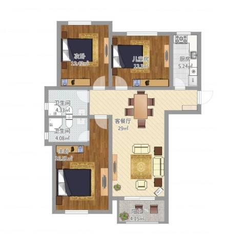 苏安新村120二3室1厅2卫1厨126.00㎡户型图