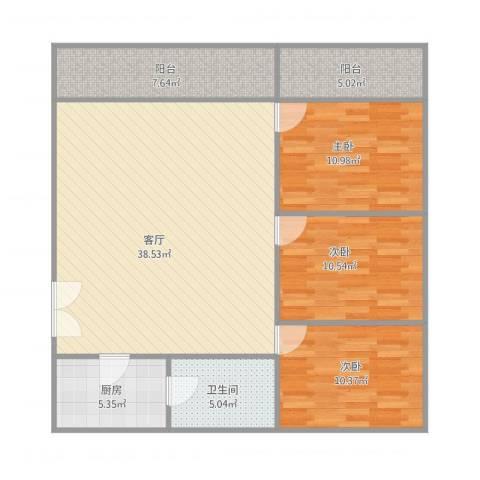 NX华远西小区3室1厅1卫1厨125.00㎡户型图