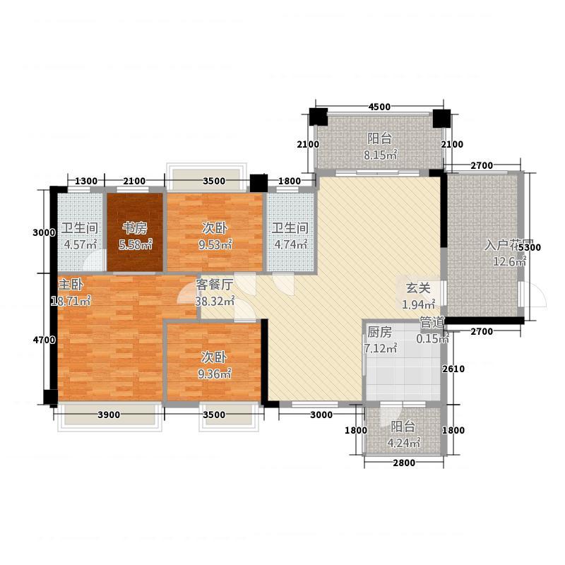 富森领峰1114.32㎡01号楼01户型3室2厅2卫1厨