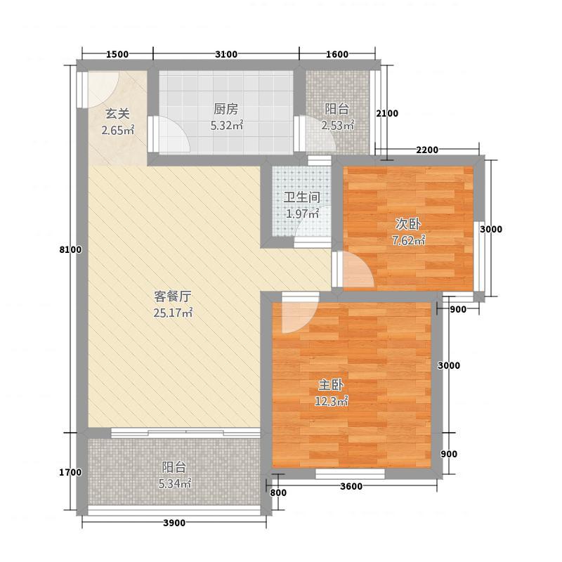 立根尚城J型 户型3室2厅1卫1厨