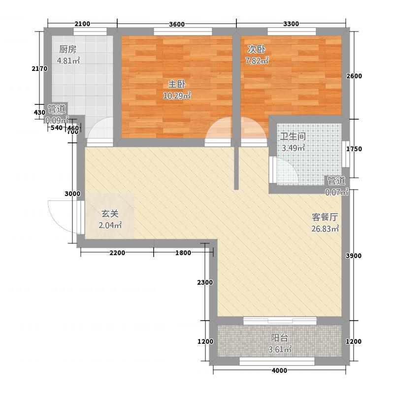 国际青年城28.42㎡户型2室2厅1卫1厨