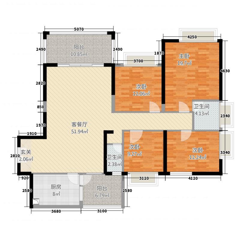南国豪苑166.62㎡B区5幢07户型4室2厅2卫1厨